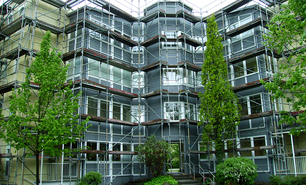 Fassadengerüste können sich an alle Formen anpassen.